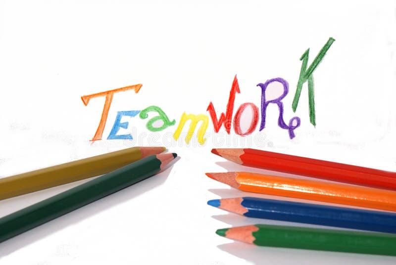 Bleistiftteamwork-Konzept lizenzfreie stockfotos