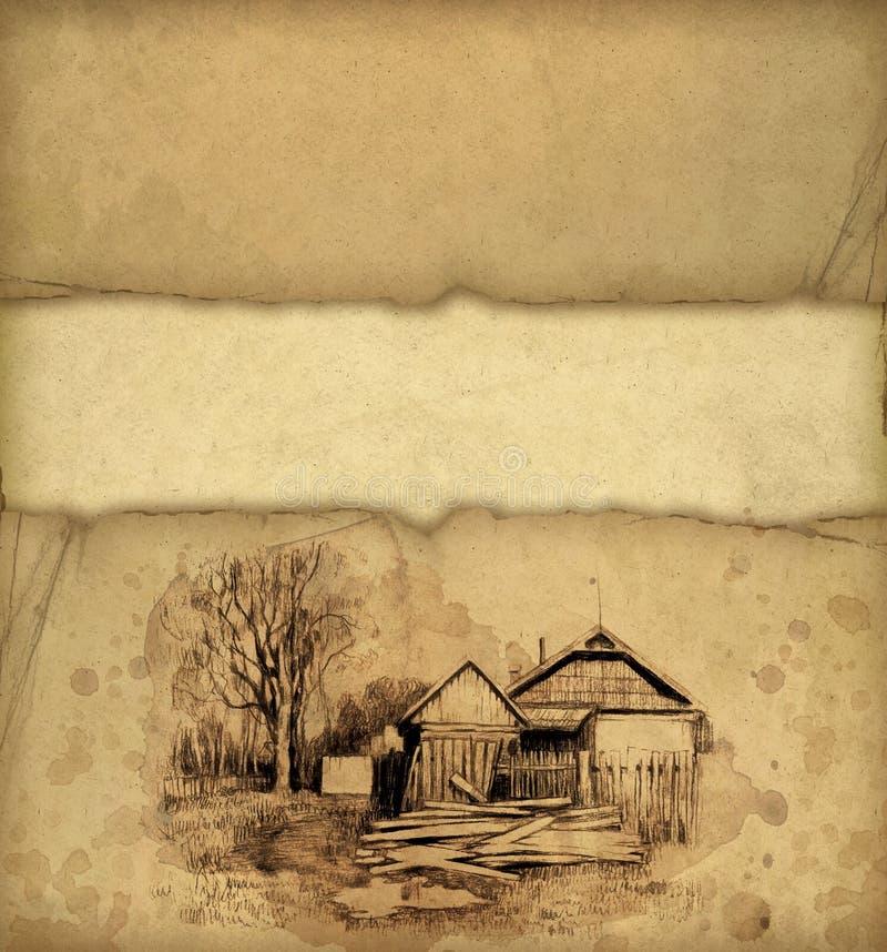 Bleistiftzeichnung der landwirtschaftlichen Landschaft lizenzfreie abbildung