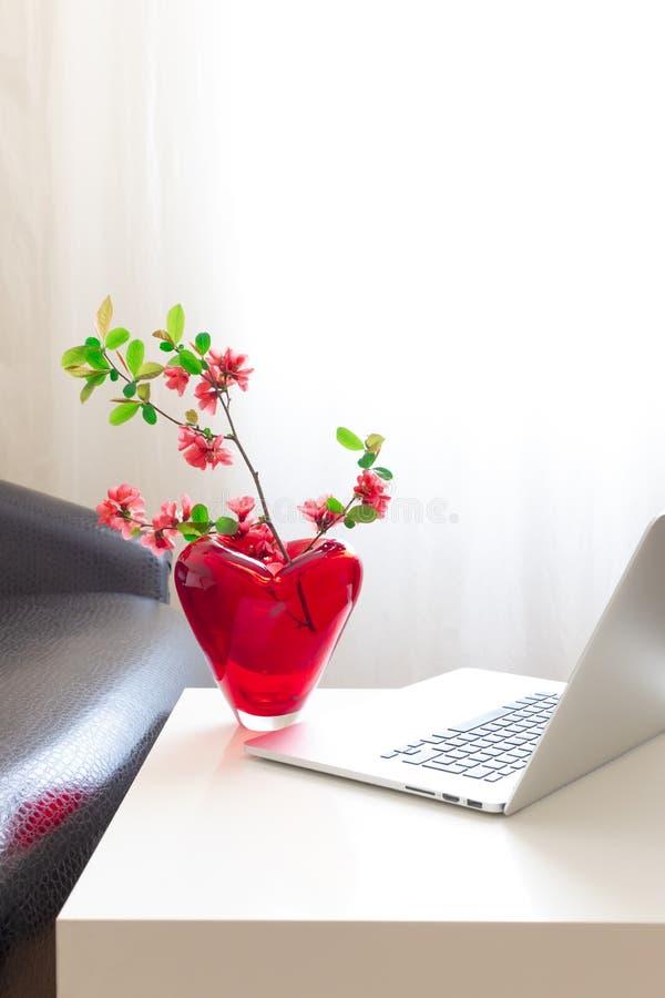 Blekande utrymme för bärbara datorer vårblommor, äppelgren rosa blanksteg royaltyfri foto