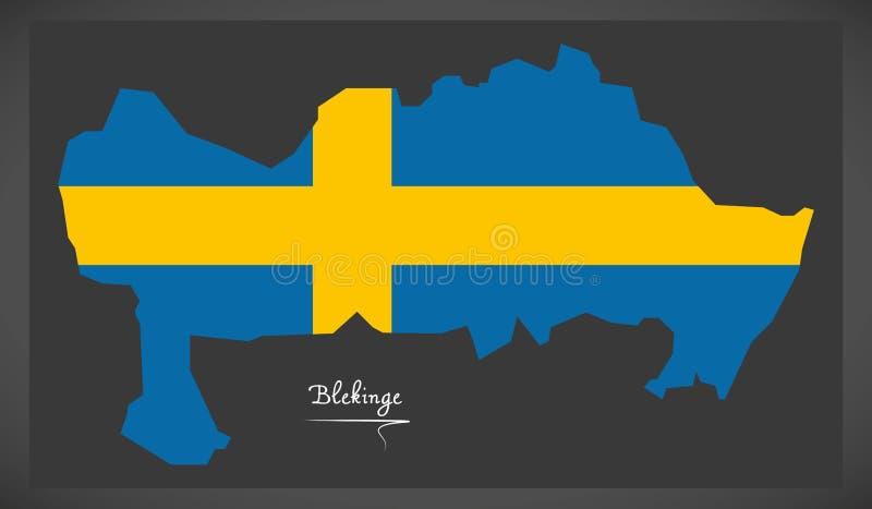 Blekinge mapa Szwecja z Szwedzką flaga państowowa ilustracją ilustracja wektor