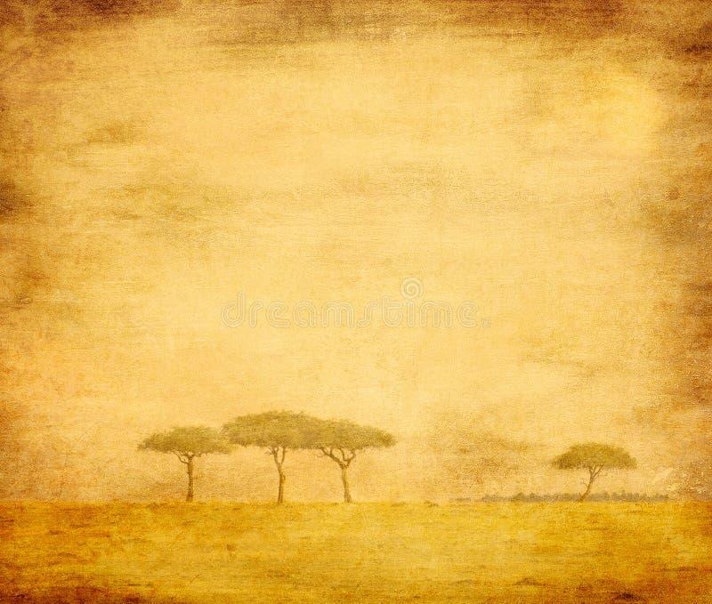 Blekt bild av trees på ett tappningpapper royaltyfri foto