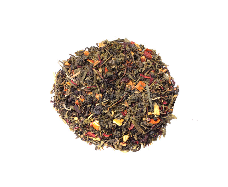 The blend of black and green tea stock photos