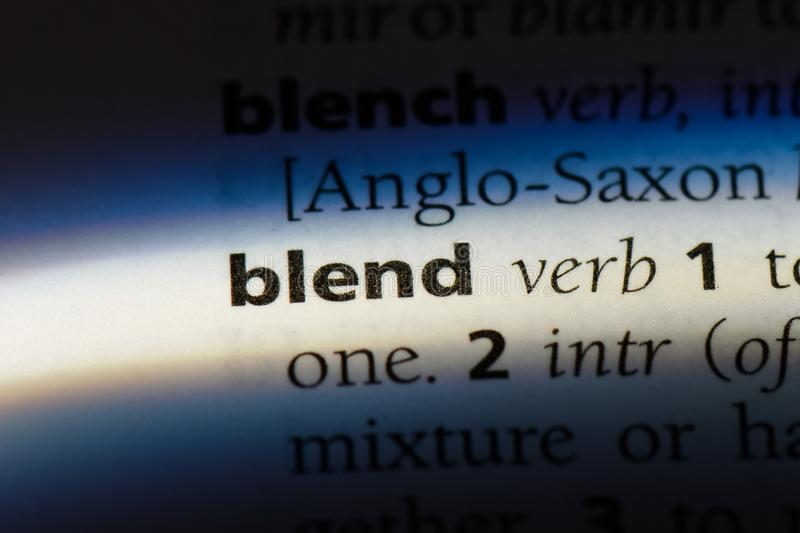 Blend. Word in a dictionary.  concept stock image