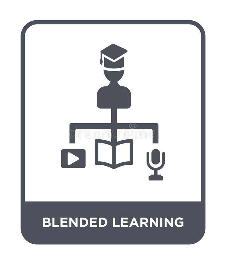 Blended learning icon in trendy design style. blended learning icon isolated on white background. blended learning vector icon. Simple and modern flat symbol royalty free illustration