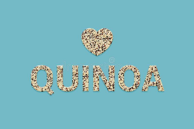 Blended tricolor Quinoa super food grains texture text. Peruvian Incan super foods mix. royalty free stock photos