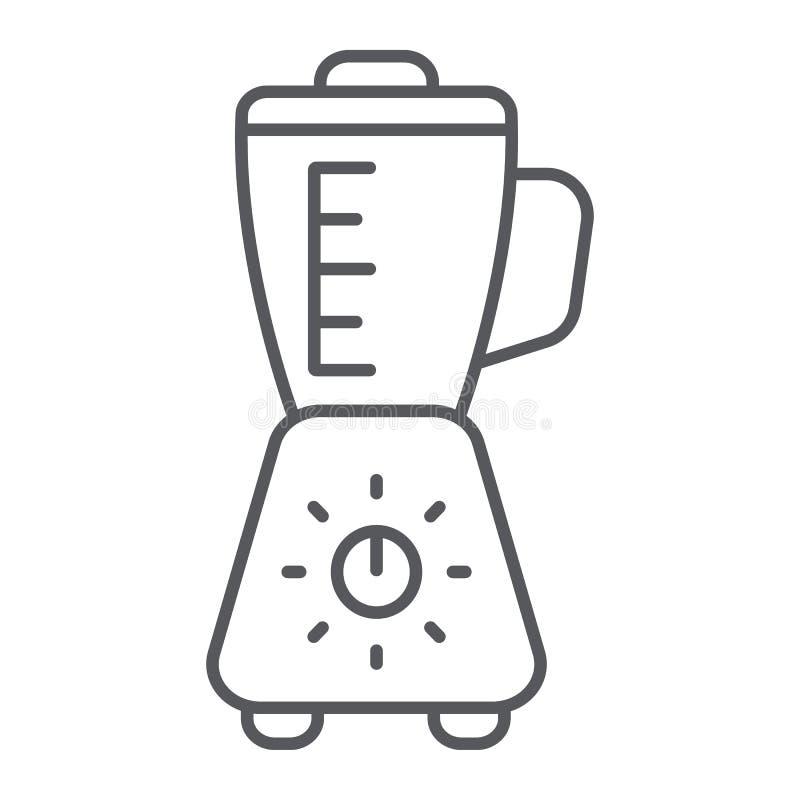 Blender cienka kreskowa ikona, urządzenie i kuchnia, melanżeru znak, wektorowe grafika, liniowy wzór na białym tle ilustracja wektor