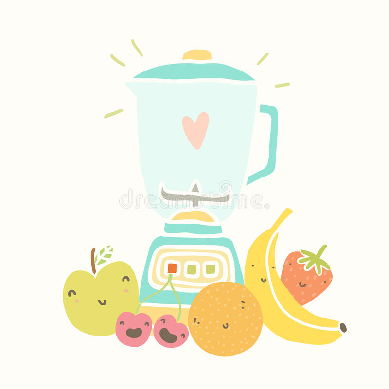 Clip Art Of Blender ~ Blender and funny fruits for smoothie stock vector
