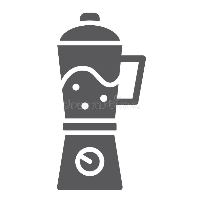 Blender glifu ikona, dom i gospodarstwo domowe, urządzenie znak, wektorowe grafika, bryła wzór na białym tle ilustracji