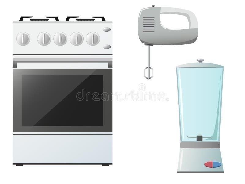 blender kitchenware melanżeru ustalona kuchenka ilustracja wektor