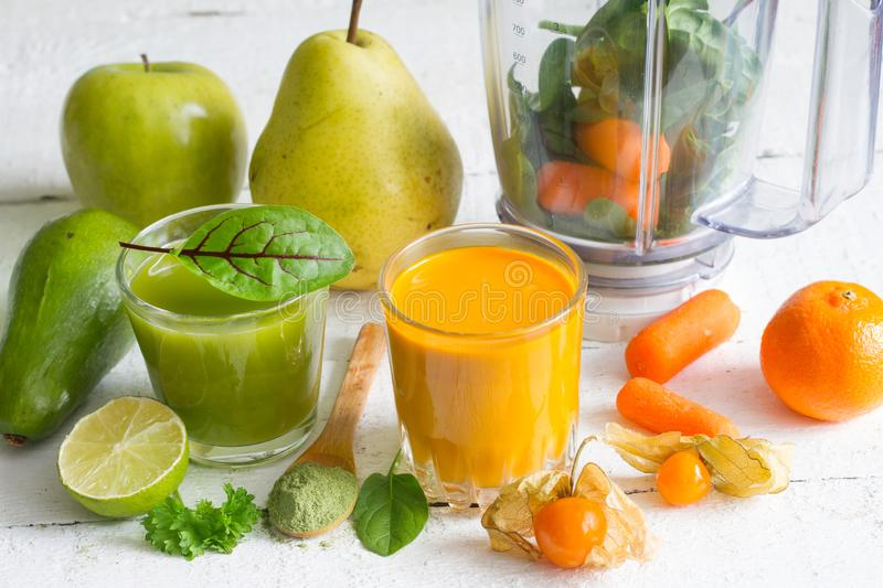 Blender smoothie fresh fruits and young sprouts healthy life style food concept. On white background stock photo