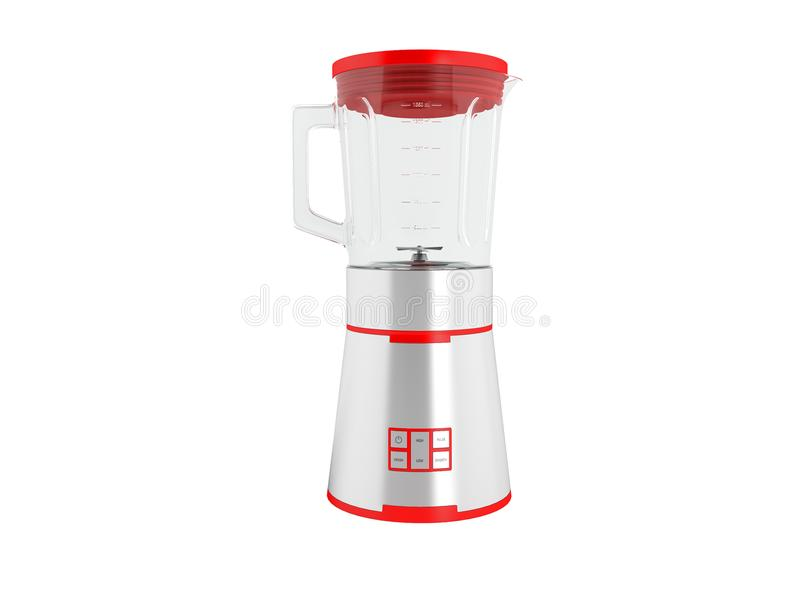 Download Modern Metal Blender Bowl Glass With Red Inserts In Front 3d Render On White Background