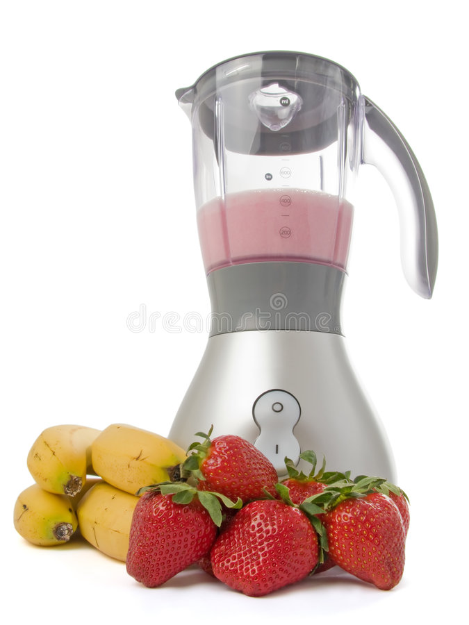 Blender with strawberries and bananas. Isolated on white background stock images