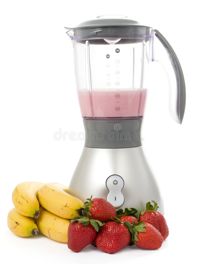 Blender with strawberries and bananas. Isolated on white background stock photos