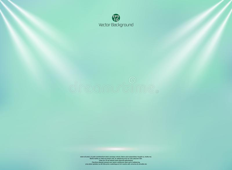 Blending green mint color background with lighting business backdrop, Mock up template for product display and copy space studio vector illustration