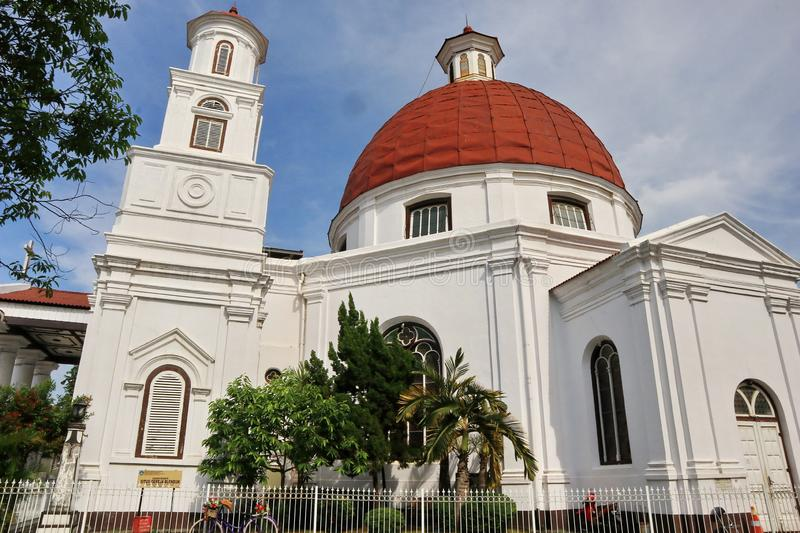 Blenduk Semarang Church is a church that was built in 1753 and is one of the landmarks in the old city. Blenduk Church is an icon of Semarang, the oldest Dutch stock image