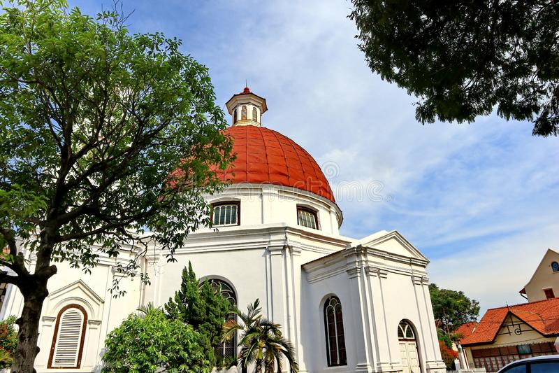 Blenduk Semarang ko?ci?? jest ko?ci?? kt?ry budowa? w 1753 i jest jeden punkty zwrotni w starym mie?cie zdjęcie royalty free