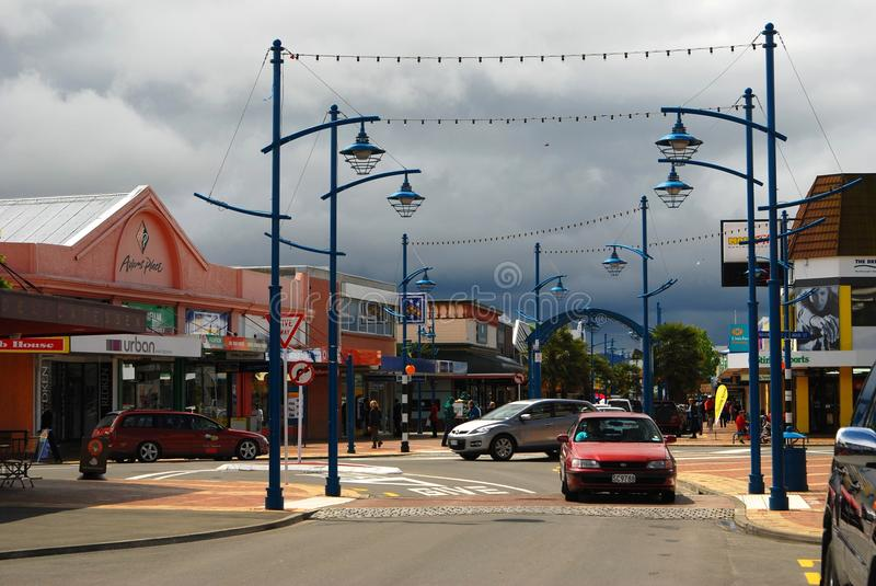 Blenheim streets under storm clouds stock photography