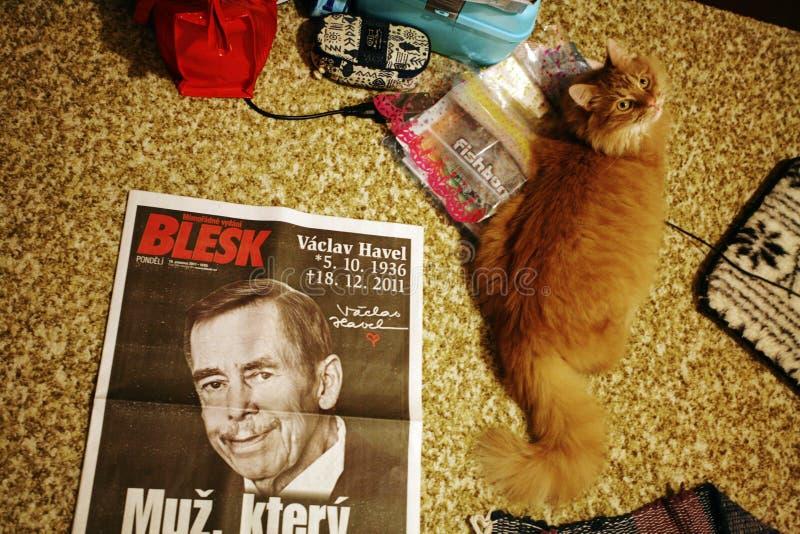 Blesktijdschrift met Vaclav Havel als fotodekking royalty-vrije stock foto's
