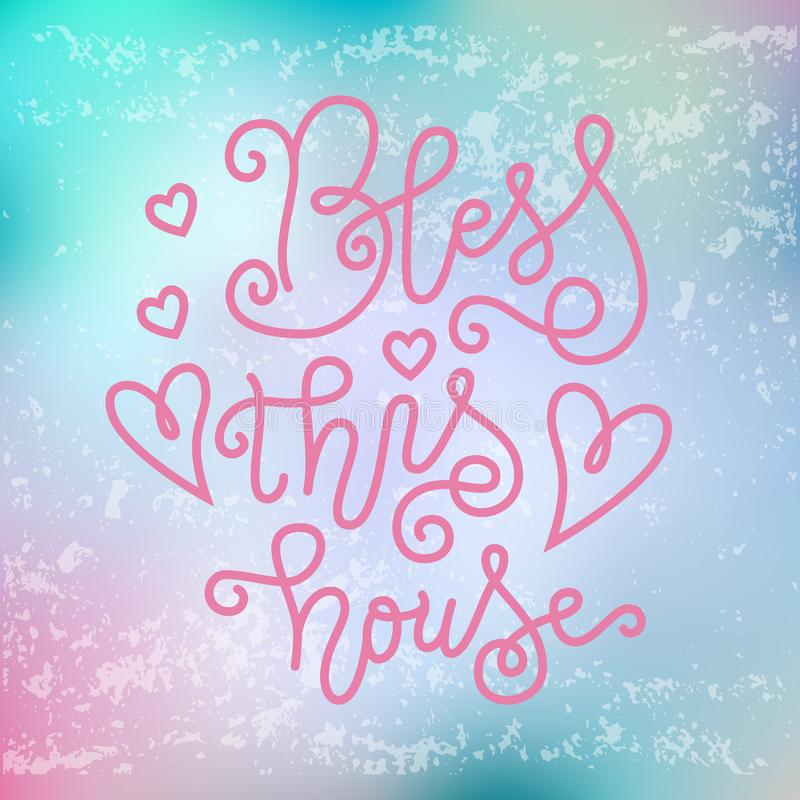Bless书法字法桃红色的这个房子在与纹理的桃红色蓝色背景 库存例证