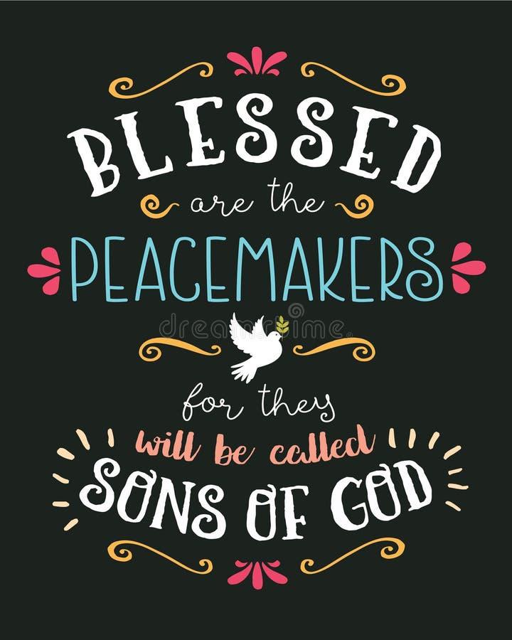 Blessed è la mano dei pacificatori che segna il vettore con lettere tipografico Art Poster illustrazione di stock