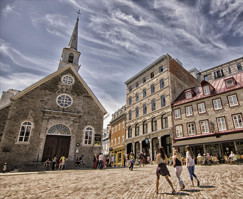 Blessed friendship at old Quebec city royalty free stock photo