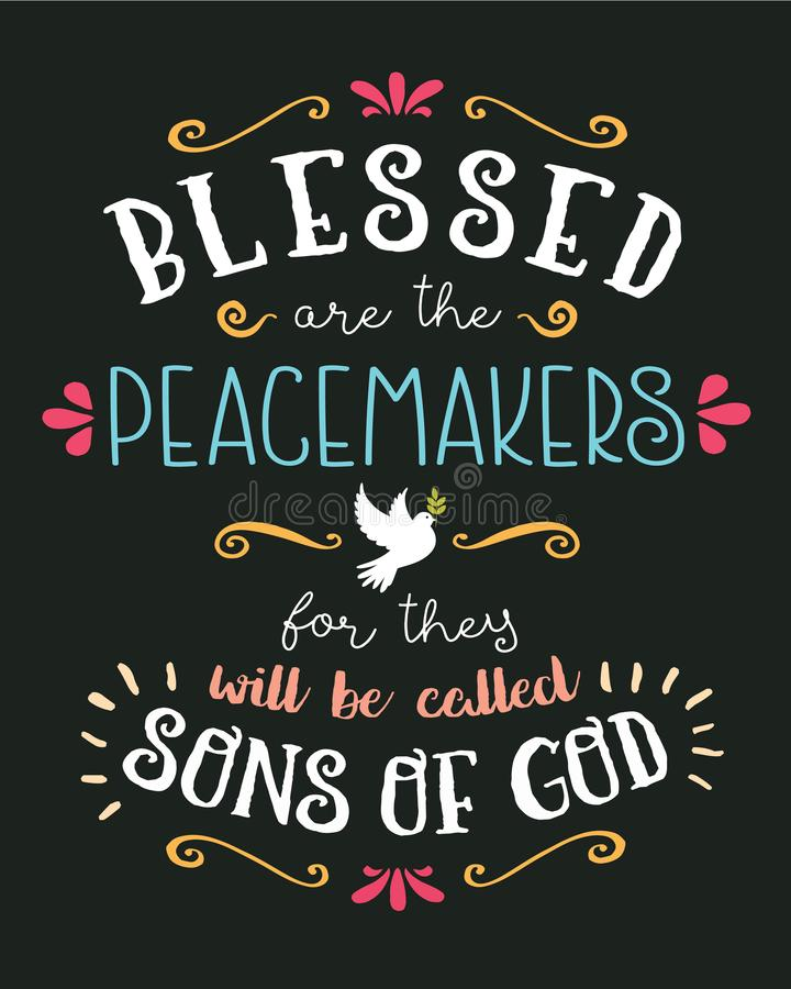 Blessed sont la main de conciliateurs marquant avec des lettres le vecteur typographique Art Poster illustration stock