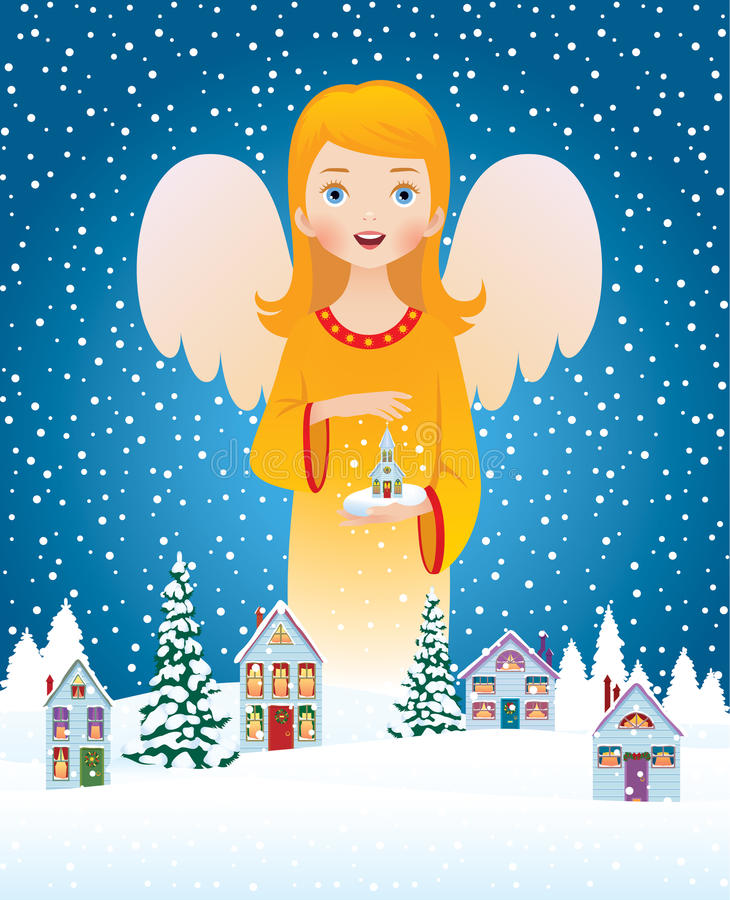 Blessing of Christmas angel royalty free illustration