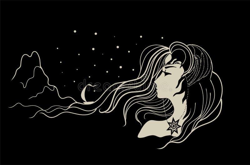 blessing Deusa da água com cabelo longo ilustração stock
