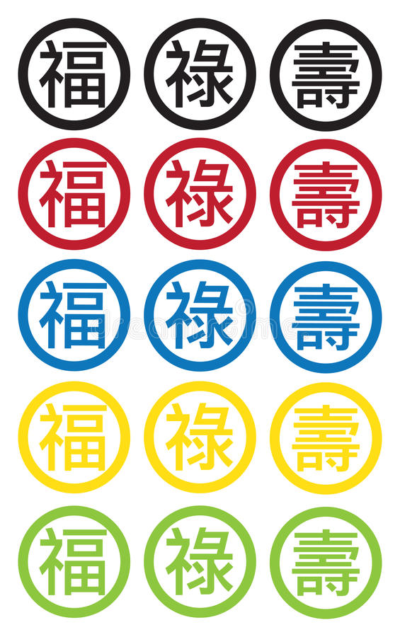 Blessing Fortune And Longevity Chinese Text Symbols Stock Vector