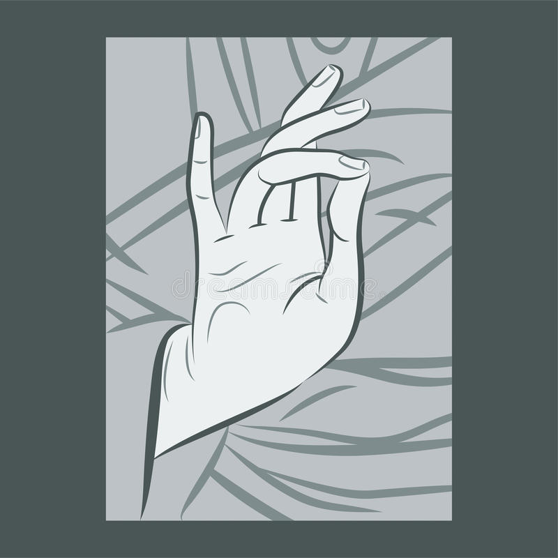 Blessing Hand. Gesture as depicted in Christian iconography, illustrated with varied width strokes vector illustration