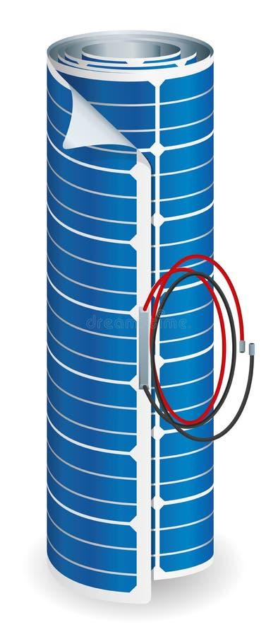Blessure flexible de panneau solaire avec les câbles noirs et rouges de connexion sur le fond blanc - image de vecteur illustration stock