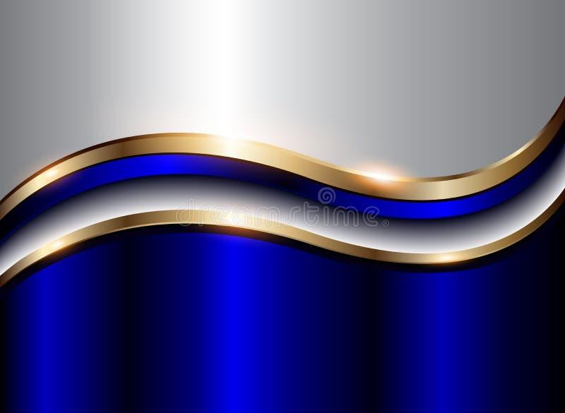 Bleu abstrait d'argent de fond illustration de vecteur