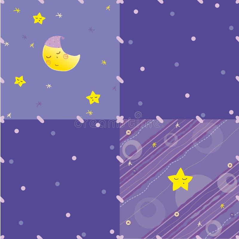 Bleu abstrait, fond lilas avec des étoiles et lune illustration libre de droits