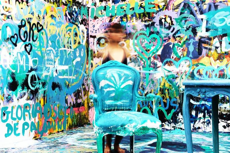 Bleu, art, graffiti, l'eau photos libres de droits