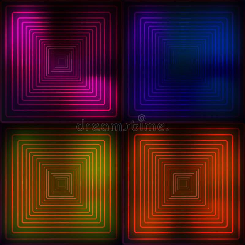 Bleu au néon, orange, rose, fond géométrique de yelllow Illustration abstraite Lignes rougeoyantes technologie Vecteur illustration libre de droits