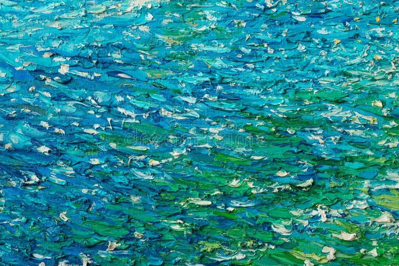 Bleu avec la texture verte d'huile de peinture image stock