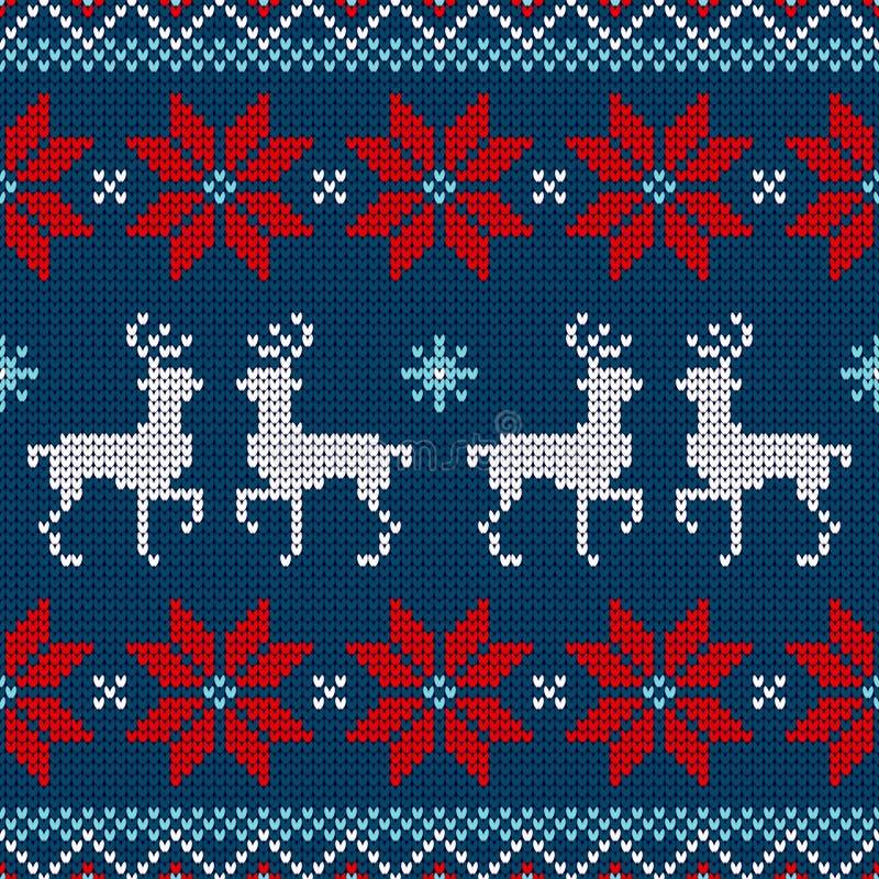 Bleu blanc rouge de renne tricoté par modèle sans couture et de poinsettia illustration libre de droits