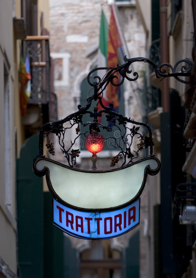 Bleu blanc rouge de Trattoria photographie stock libre de droits