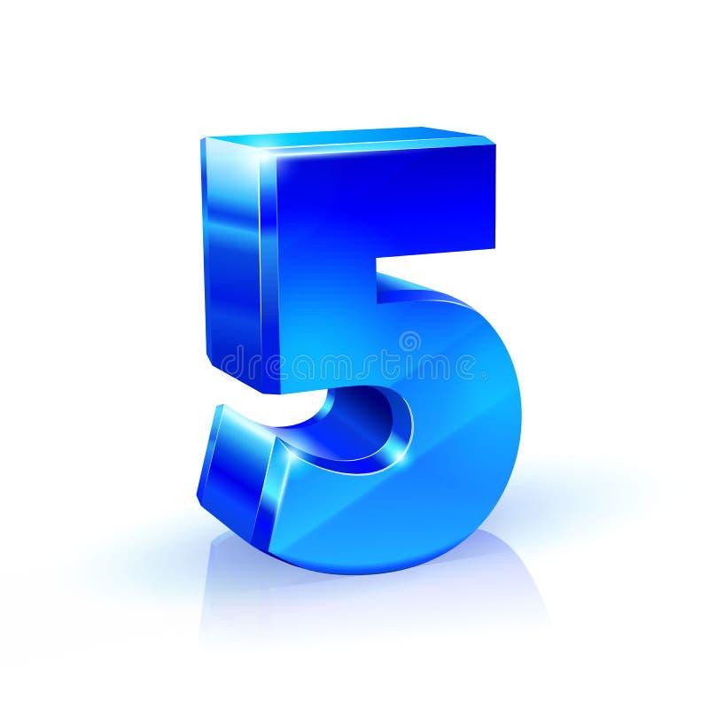 Bleu brillant cinq nombre 5 illustration 3d sur le fond blanc illustration de vecteur