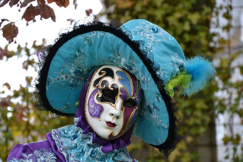 Bleu, carnaval, masque, usine images stock