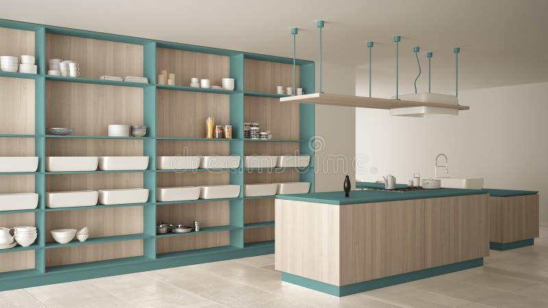Bleu cher de luxe minimaliste et fraise-mère en bois de cuisine, d'île, d'évier et de gaz, l'espace ouvert, plancher en céramique illustration libre de droits