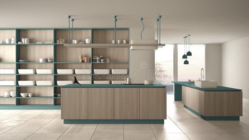 Bleu cher de luxe minimaliste et fraise-m?re en bois de cuisine, d'?le, d'?vier et de gaz, l'espace ouvert, fen?tre panoramique,  illustration de vecteur