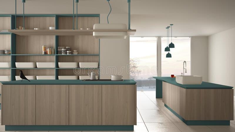 Bleu cher de luxe minimaliste et fraise-m?re en bois de cuisine, d'?le, d'?vier et de gaz, l'espace ouvert, fen?tre panoramique,  illustration libre de droits