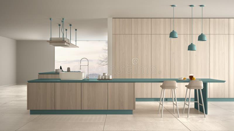 Bleu cher de luxe minimaliste et fraise-m?re en bois de cuisine, d'?le, d'?vier et de gaz, l'espace ouvert, fen?tre panoramique,  illustration stock