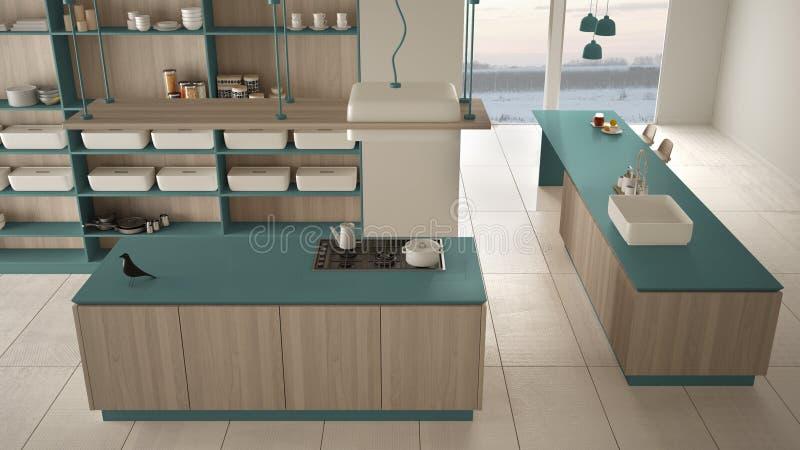 Bleu cher de luxe minimaliste et fraise-m?re en bois de cuisine, d'?le, d'?vier et de gaz, l'espace ouvert, plancher en c?ramique illustration libre de droits