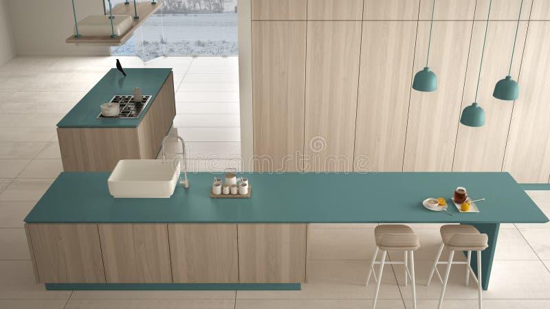 Bleu cher de luxe minimaliste et fraise-m?re en bois de cuisine, d'?le, d'?vier et de gaz, l'espace ouvert, plancher en c?ramique illustration de vecteur