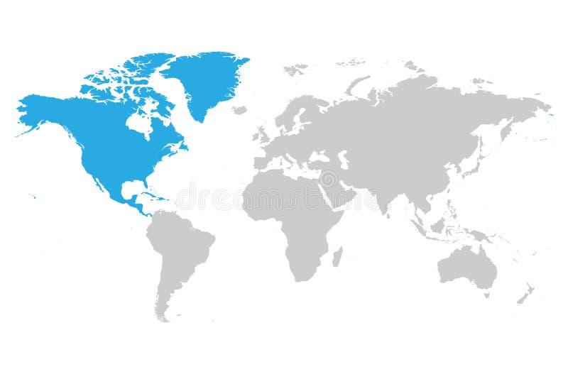 Bleu continent de l'Amérique du Nord marqué en silhouette grise illustration libre de droits