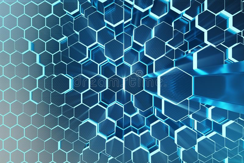 bleu d'abrégé sur l'illustration 3D de modèle extérieur futuriste d'hexagone avec les rayons légers Fond hexagonal de teinte bleu photographie stock