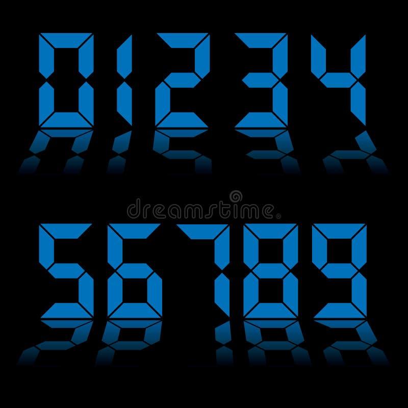 Bleu d'horloge de numéros de Digitals illustration de vecteur