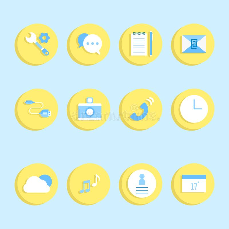 Bleu d'icône de cercle de label de logo de bouton de téléphone portable de technologie de l'information et ensemble jaune illustration de vecteur